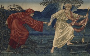 Picture tapestry, 1909, Birmingham Museum, Love and the pilgrim, Edward Burne-Jones