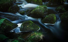 Picture water, the dark background, stones, waterfall, stream, boulders
