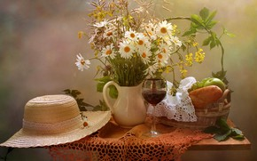 Wallpaper flowers, table, wine, basket, apples, glass, chamomile, bread, grapes, vase, fruit, still life, tablecloth, napkin, ...