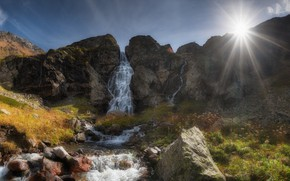 Picture the sun, rays, landscape, mountains, nature, river, stones, waterfall, KCR, Agoranov Alex, Alexey Bagaryakov, Imeretinka