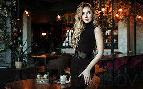 Picture sexy, pose, lamp, model, chairs, portrait, makeup, figure, dress, hairstyle, tables, blonde, is, strap, Julia, …