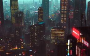 Picture Night, The city, Rain, City, Architecture, Night, Rain, Environment, Science Fiction, Cyberpunk, SciFi, Artem Gainullov, …