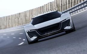 Picture grey, Audi, track, front view, 2018, PB18 e-tron Concept