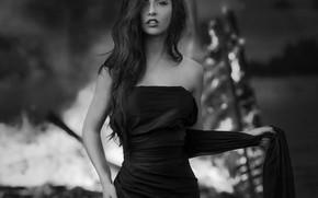 Picture black & white, girl, dress, photo, photographer, monochrome, model, silk, lips, brunette, b&w, black dress, …