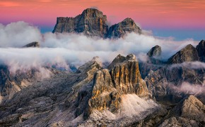 Picture clouds, mountains, Italy, Cortina d'ampezzo, Monte Pelmo