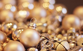 Picture winter, balls, light, holiday, balls, Christmas, New year, bells, a lot, bokeh, Christmas decorations, Golden, …