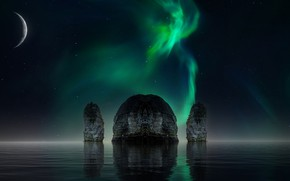 Picture the sky, water, space, stars, night, reflection, rendering, rocks, the moon, planet, Northern lights, pond, …