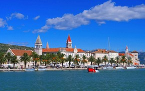 Picture sea, the city, Marina, boats, promenade, Croatia, Trogir