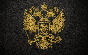 Wallpaper leather, gold, coat of arms, Russia