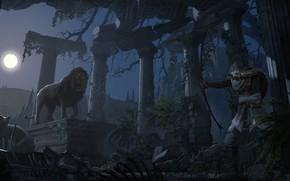 Picture lions, computer game, Assassin's Creed Origins, Eddie Bennun, Den in Greek ruins