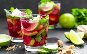 Picture raspberry, cocktail, lime, glasses, mint, Mojito
