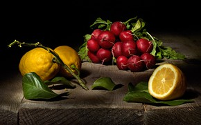 Picture leaves, Board, food, the beam, black background, still life, items, lemons, composition, radishes, radishes