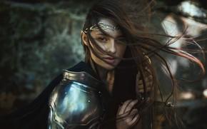 Picture look, girl, style, weapons, hair, sword, armor, warrior, fantasy, knight, warrior, Marketa Novak