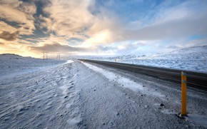 Picture road, the sky, snow