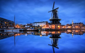Picture the city, reflection, river, home, boats, the evening, lighting, mill, Netherlands, Haarlem, The guy near