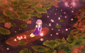 Picture night, pond, lights, fireflies, boat, candles, vocaloid, Lotus, Vocaloid, the view from the top, two …