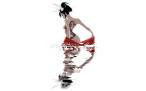 Picture Water, Reflection, Girl, Minimalism, Japan, Asian, Japan, Tattoo, Geisha, Japanese, Tattoo, Art, Illustration, Characters, Memoirs …