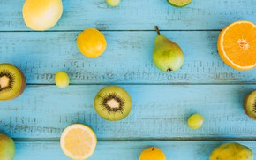 Picture lemon, orange, kiwi, fruit, wood, blue background, grape, fruits, citrus, pear, plums, plank, kiwis, blue ...