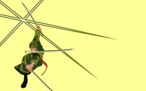 Picture minimalism, guy, swords, One Piece, stand, yellow background