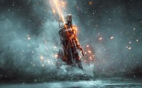 Picture fog, gun, soldiers, coat, Battlefield 1