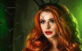 Picture light, model, makeup, hairstyle, green, red, beauty, Bunny, ears, bokeh, Dana Bounty, Svetlana Nikonova, metal …