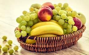 Picture table, Board, grapes, bananas, fruit, basket, peaches, different, composition, cuts, nectarines