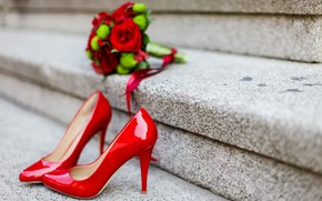 Picture flowers, roses, bouquet, shoes, heels, red, studs, wedding, bouquet, roses, wedding, high heels