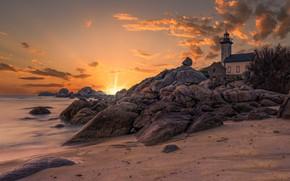 Picture France, Rocks, Bretagne, Breizh, Pontusval lighthouse