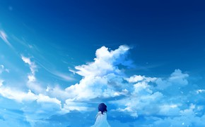 Picture the sky, clouds, girl