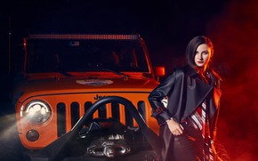 Picture auto, look, night, Girls, beautiful girl, Jeep, posing on the car