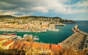 Picture sea, the sky, the sun, clouds, landscape, coast, France, home, ships, yachts, boats, horizon, Bay, …