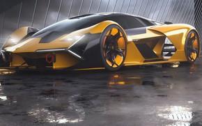 Picture rendering, Lamborghini, supercar, front view, The Third Millennium