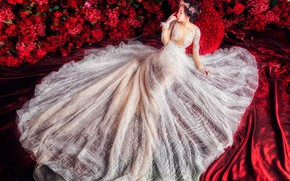 Picture girl, flowers, red, pose, white, silk, dress, red, fabric, Asian, beautiful, sitting, the bride, Princess, …