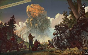 Picture people, motorcycles, helmet, Harley-Davidson, on my way