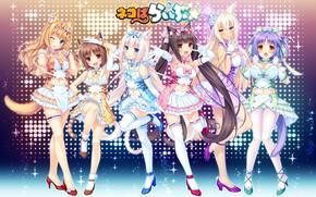 Picture sexy, Anime, panties, green eyes, long hair, girls, brown hair, boobs, blue eyes, tail, beautiful, …