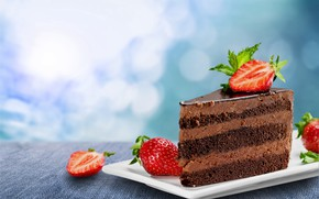 Picture berries, background, strawberry, decoration, cake, cream, dessert, chocolate, souffle