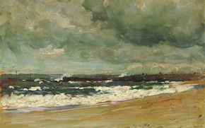 Picture sea, picture, Jean-Baptiste Olive, Storm clouds over the pier, Jean Baptiste Olive