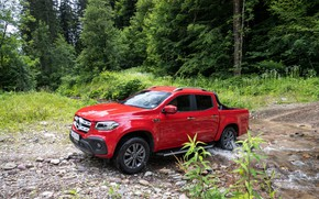 Picture forest, red, stream, Mercedes-Benz, pickup, 2018, X-Class