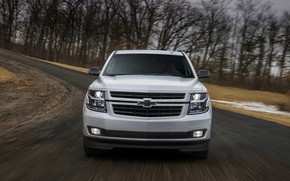 Picture white, Chevrolet, front view, 2018, SUV, Tahoe