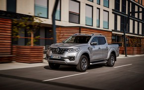 Picture movement, street, Renault, pickup, 4x4, 2017, Alaskan, gray-silver