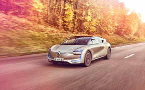 Picture road, forest, transport, car, Renault Symbios Concept