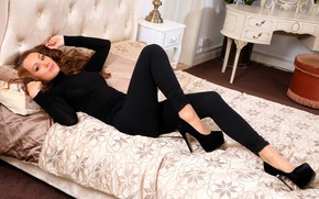 Picture look, girl, pose, bed, jeans, shoes, heels, beautiful