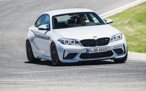Picture asphalt, lawn, coupe, speed, track, BMW, 2018, F87, M2, M2 Competition