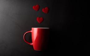 Picture mug, hearts, Valentine's day, the dark background