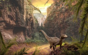 Picture look, leaves, nature, rocks, vegetation, dinosaur, dinosaurs, pterodactyls, the Jurassic period