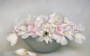 Picture flowers, bouquet, bowl, petals, art, tulips, pink, white, still life, painting, light background, daffodils, composition, …