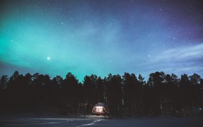 Picture The sky, Night, Stars, Trees, Forest, Light, Tent, House, Northern lights, House, Light, Sky, Stars, …