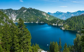 Picture the sky, water, trees, mountains, lake