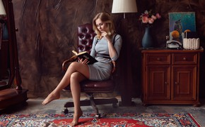Picture look, girl, pose, room, chair, dress, book, legs, Shaklein Alex