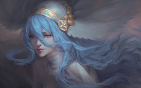 Picture girl, portrait, blue hair